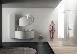 FREEDOM 31, Single wall-mounted HPL vanity unit with mirror