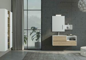 FREEDOM 33, HPL vanity unit with drawers with mirror
