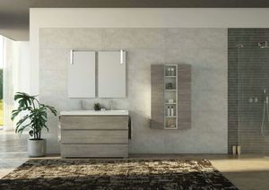 FREEDOM 36, Double wall-mounted HPL vanity unit with towel rail