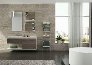 FREEDOM 38, Single melamine wall-mounted vanity unit with mirror
