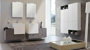 FUNKY FK-03, Bathroom furniture with mirrors with push-pull drawers