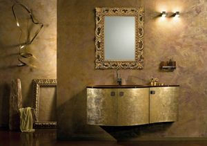 Glamour Oro AM37, Gold finish bathroom cabinet