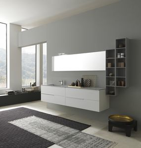 Lime 1.0 comp.03, Bathroom cabinet with washbasin, top in Deimos