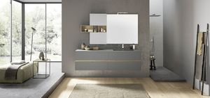 Lime 2.0 comp.208, Bathroom cabinet with integrated sink, wall unit with open compartments