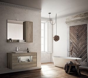 Lume comp.05, Bathroom cabinet with sink and mirror