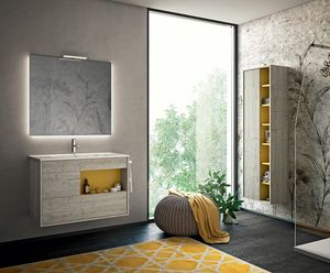 Lume comp.07, Bathroom cabinet with backlit mirror