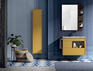 Lume comp.13, Bathroom cabinet with mirror and wall unit