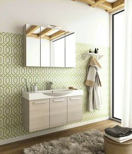 MANHATTAN M14, Wall-mounted wooden washbasin unit with doors