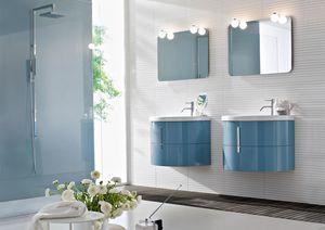 Moon comp.05, Bathroom furniture with ceramic washbasin