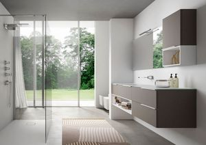 My time comp.01, Contemporary bathroom cabinet with extra-crystal glass washbasin