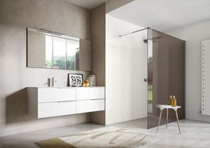 My time comp.03, White lacquered bathroom cabinet with two integrated washbasins