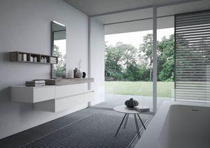 Nyù comp.13, Bathroom cabinet with laminated washbasin