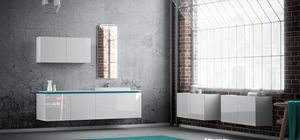 Plane 2D 07, Bathroom cabinet in white lacquered finish