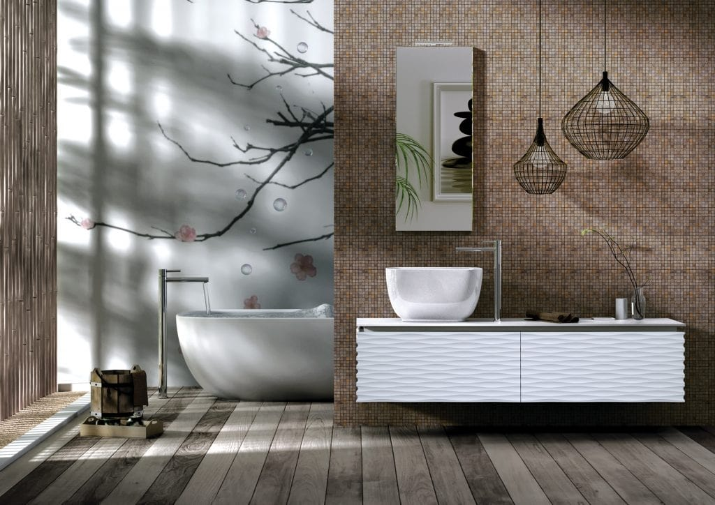 Plane 3D 04, Bathroom cabinet with fronts with 3D effect