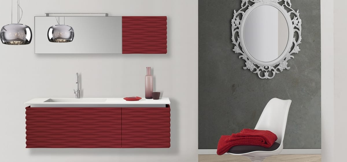 Plane 3D 06, Bathroom cabinet with matching mirror
