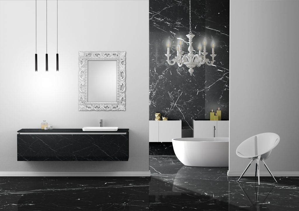 Plane Grés 01, Bathroom furniture in black stoneware finish