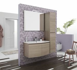 ROUND 04, Wall-mounted vanity unit with doors