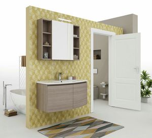 ROUND 06, Wall-mounted vanity unit with doors
