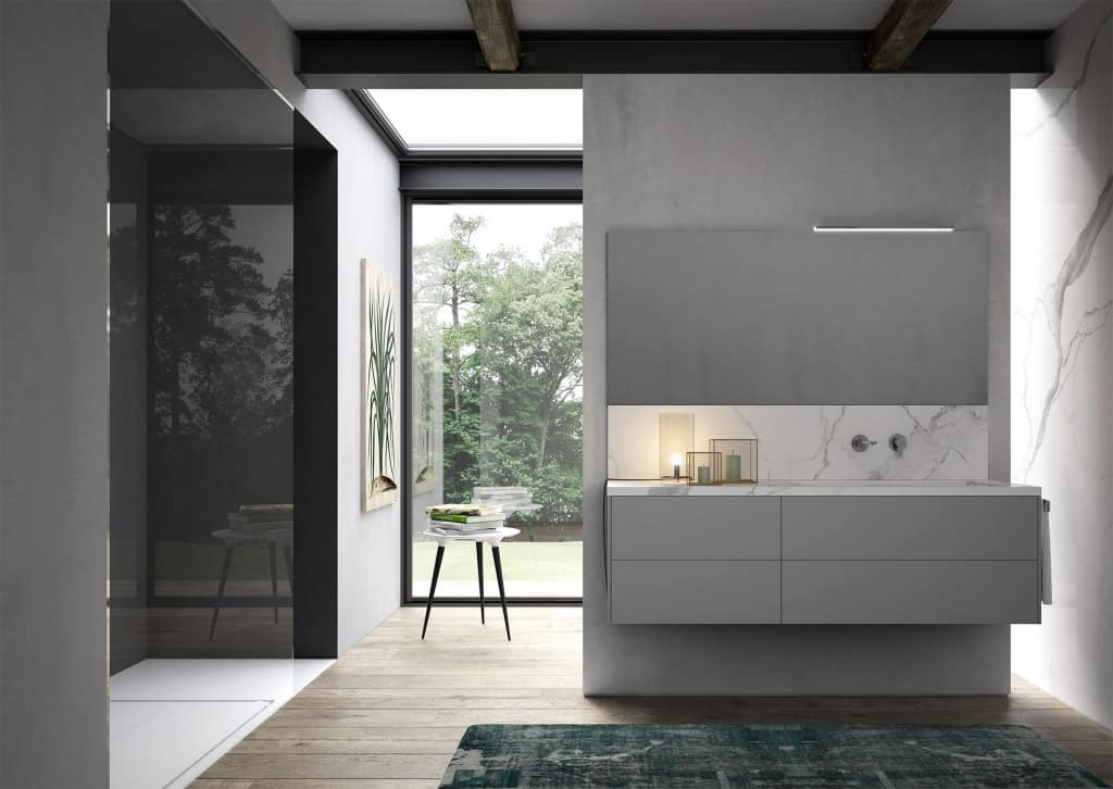 Sense comp.02, Bathroom cabinet with washbasin in marble-effect stoneware