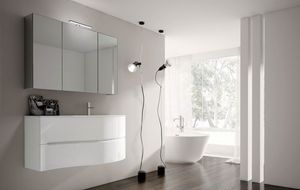 Smyle comp.07, Shiny white bathroom cabinet, with glass washbasin