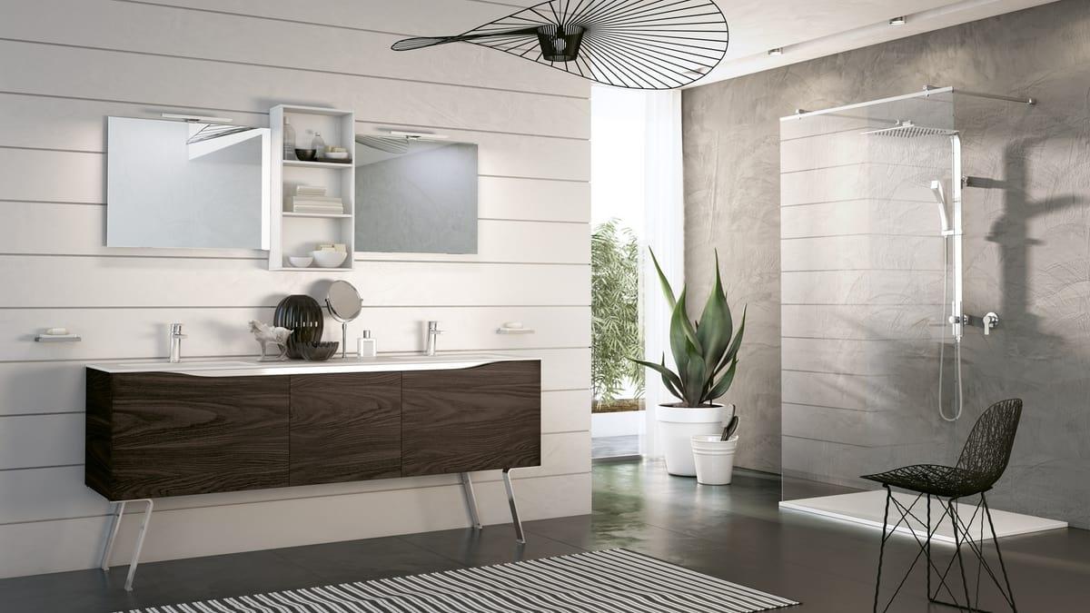 Swing Sw 04 Complete Furniture For Modern Bathroom In Dark Walnut