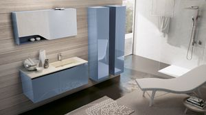 SWING SW-08, Complete furniture for shiny blue bathroom