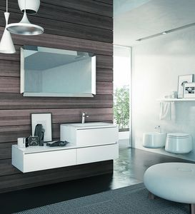SWING SW-13, Polished white bathroom cabinet with mirror