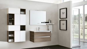 SWING SW-14, Bathroom cabinet in dark elm with square mirror