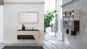 TEKNO TK-04, Dark walnut bathroom cabinet with neon lamp