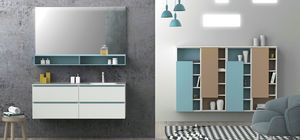 Torana TR 021, White bathroom cabinet with blue details, integrated sink in the top