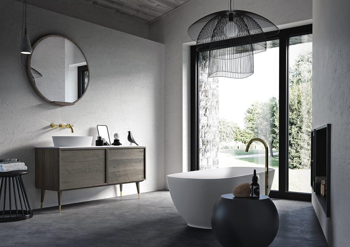 Oak bathroom cabinet with marble top idfdesign for Combi arredamenti