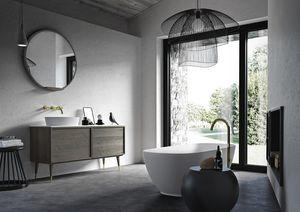 Washbasin base Coco 035/2, Oak bathroom cabinet with marble top