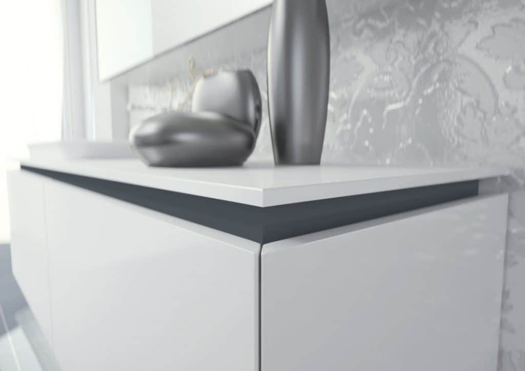 Plane 2D 01, Bathroom furniture, lacquered, with mirrored cabinet