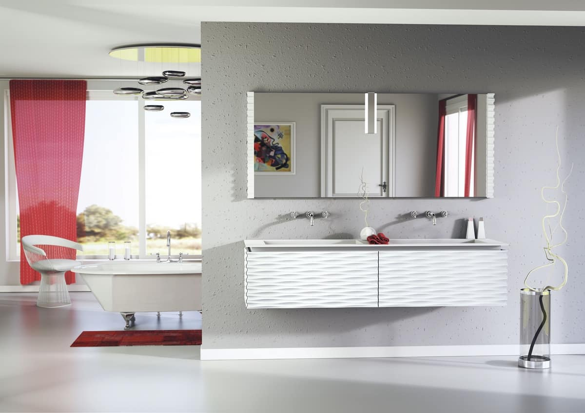 Plane 3D 01, Bath composition lacquered, with 2 sinks