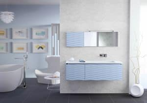 Plane 3D 02, Bathroom furniture, mat lacquered, blade drain