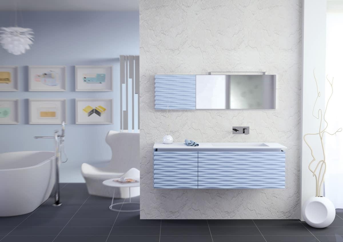 Plane 3D 02, Bathroom furniture, mat lacquered, blade drain