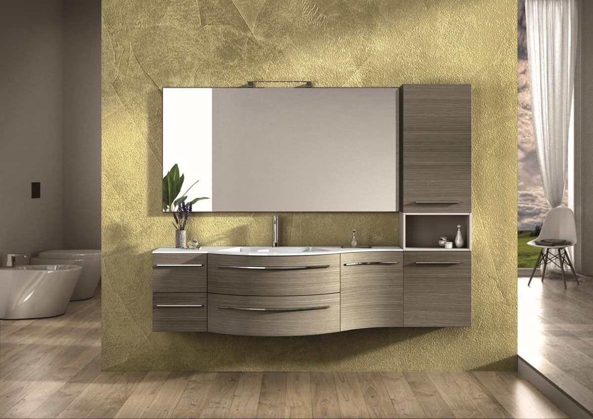 Round AM 120, Furniture finished in oak, chrome handles, for bathroom
