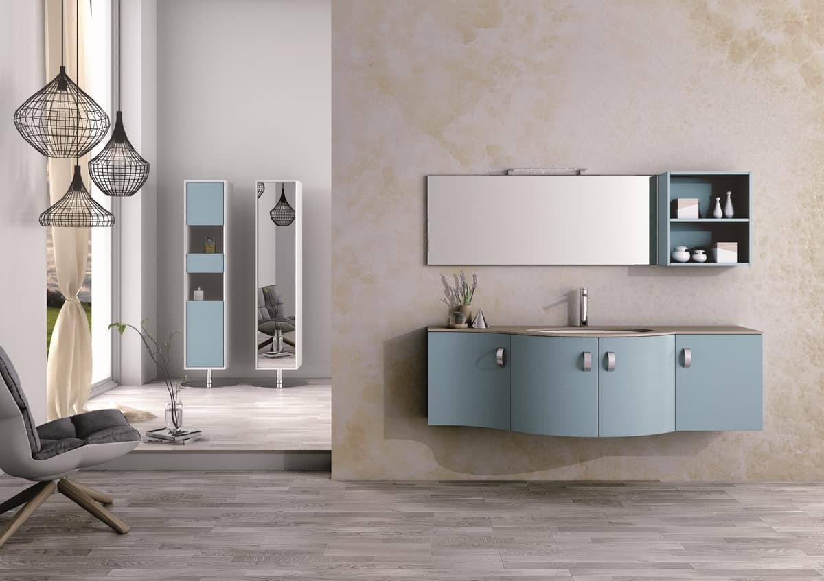 Beau Round AM 121, Bathroom Furniture, With Sinuous Lines, Various Materials