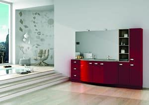 Round AM 122, Furniture for bathroom, with cabinets, drawers and mirror