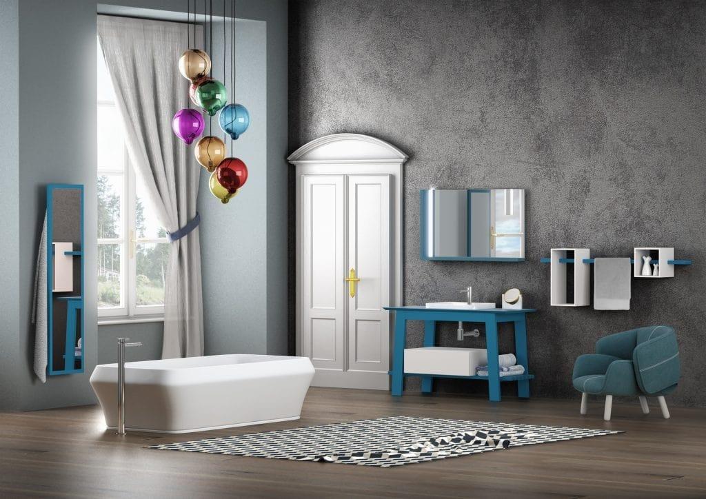 Bath Table 06, Matt blue lacquered bathroom furniture