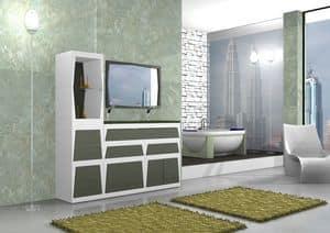 Bathroom furniture B2, Modular bathroom furniture in various colors, in laminate
