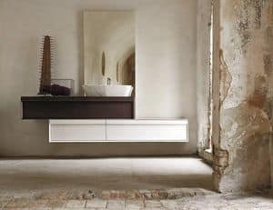 Class 01, Bathroom cabinet with two large drawers, surface-mounted washbasin