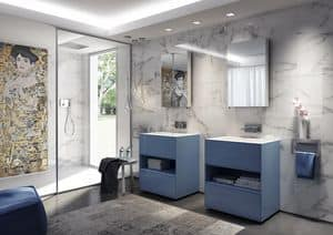 Class 04, Blue bathroom washbasin unit, with integrated sink