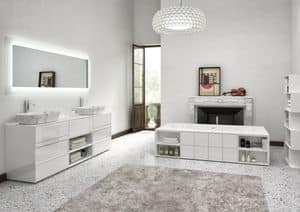 Class 05, Bathroom cabinet, with white glossy finish, marble sink