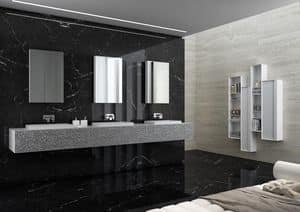Class 08, Bathroom cabinets with silver finish, with triple sink
