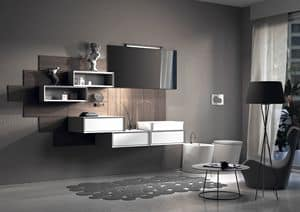 Domino 01, Composition for bathroom, with lacquered wood paneling