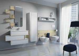 Domino 02, Bathroom furniture with sink, toilet and bidet