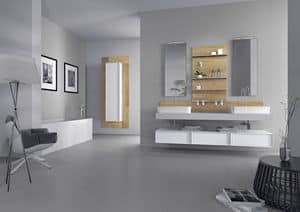 Domino 03, Furniture for bathroom with two sinks, concrete finishing