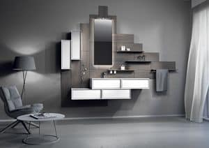 Domino 04, Bathroom furniture with wood paneling and container modules