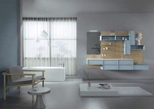 Domino 06, Furniture for bathroom, with oak paneling